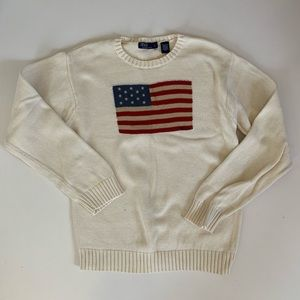 Polo Ralph Lauren American Flag Sweater L Cream